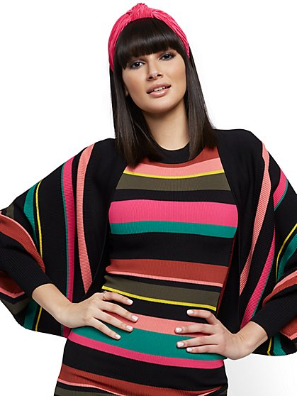 Multicolor Stripe Dolman Cardigan - New York & Company