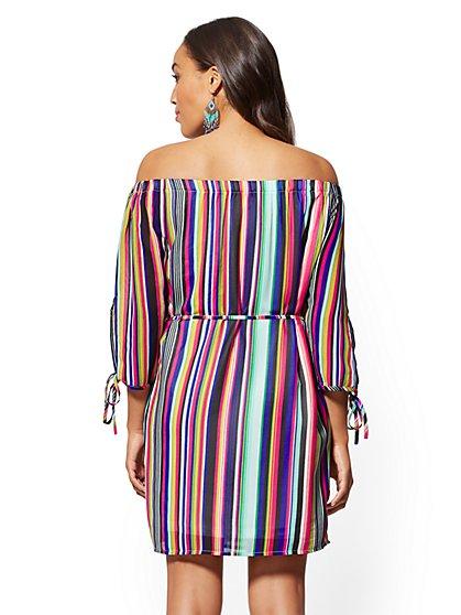 55aa2d94722336 ... Multicolor Stripe Off-The-Shoulder Shift Dress - New York   Company