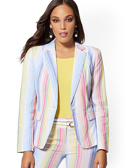 Multicolor Stripe One-Button Jacket - Modern - 7th Avenue - New York & Company