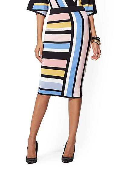 Multicolor Stripe Pencil Sweater Skirt - New York & Company