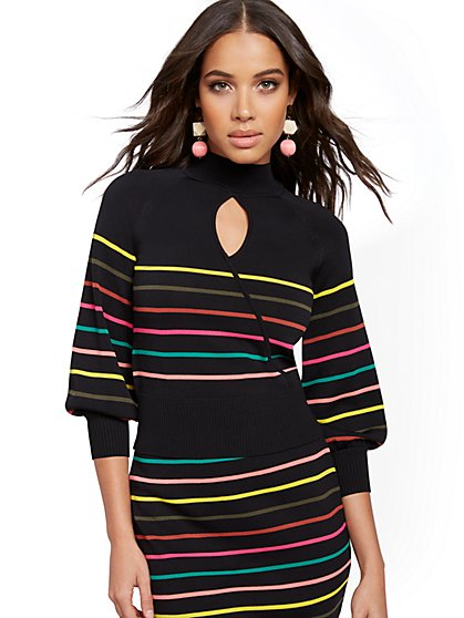 Multicolor Stripe Sweater - 7th Avenue - New York & Company