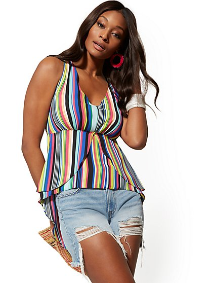 f714110854 Multicolor Stripe Tiered Hi-Lo Blouse - New York   Company ...