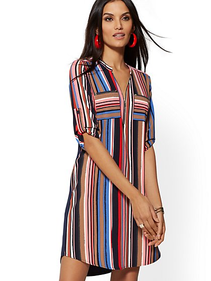 Multicolor Stripe Zip-Front Shirtdress - New York & Company