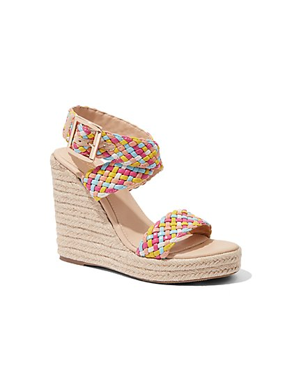 Multicolor Woven Wedge-Heel Espadrille Sandal - New York & Company