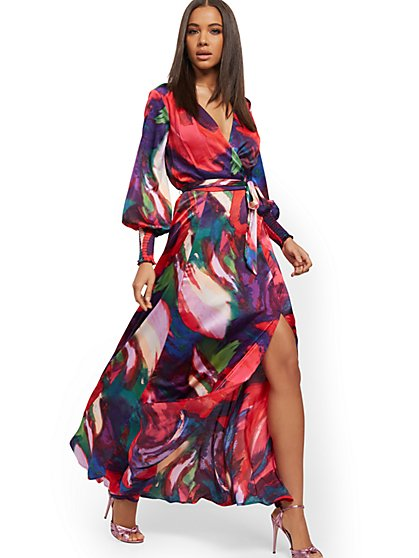 Multicolor Wrap Maxi Dress - New York & Company
