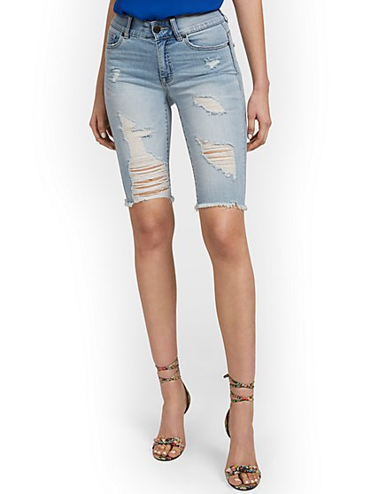 Mya Curvy High-Waisted Sculpting No Gap 13-Inch Bermuda Short - Jones Blue - New York & Company