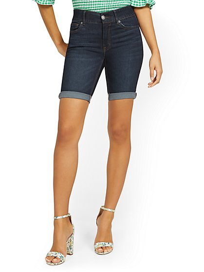 Mya Curvy High-Waisted Sculpting No Gap 9-Inch Shorts - Blue Myth - New York & Company