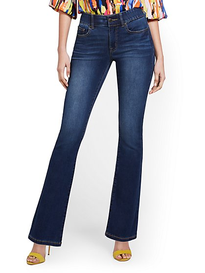 Mya Curvy High-Waisted Sculpting No Gap Barely Bootcut Jeans - Foxy Blue - New York & Company