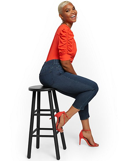 Mya Curvy High-Waisted Sculpting No Gap Capri Jeans - Steinway Blue - New York & Company