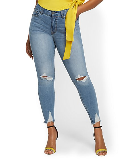 Mya Curvy High-Waisted Sculpting No Gap Super-Skinny Ankle Jeans - Lavish Blue - New York & Company