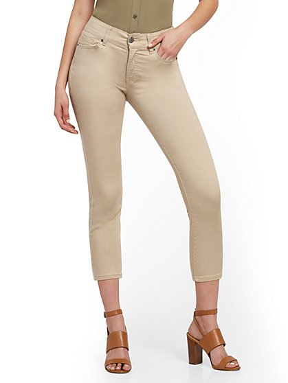Mya Curvy High-Waisted Sculpting No Gap Super-Skinny Capri Jeans - Khaki - New York & Company
