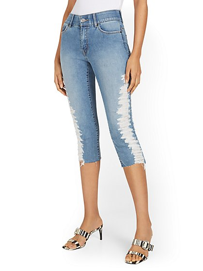 Mya Curvy High-Waisted Sculpting No Gap Super-Skinny Capri Jeans - Medium Blue Wash - New York & Company