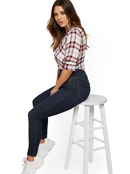 Mya Curvy High-Waisted Sculpting No Gap Super-Skinny Jeans - Moonlight Blue - New York & Company