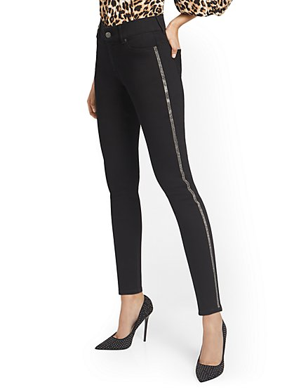 Mya Curvy High-Waisted Sculpting No Gap Super-Skinny Jeans - Rhinestone Stripes - New York & Company