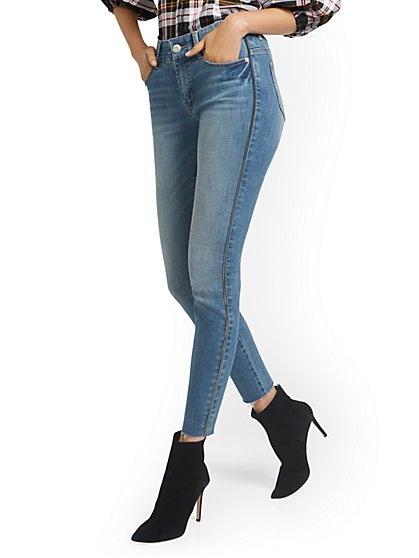 Mya Curvy High-Waisted Sculpting No Gap Super-Skinny Jeans - Side-Zip - New York & Company
