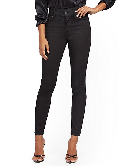 Mya High-Waisted Curvy No-Gap Super-Skinny Jeans - Black - New York & Company