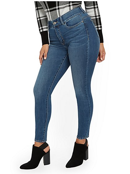 Mya High-Waisted Curvy Shaping No Gap Super-Skinny Jeans -Blue Love - New York & Company