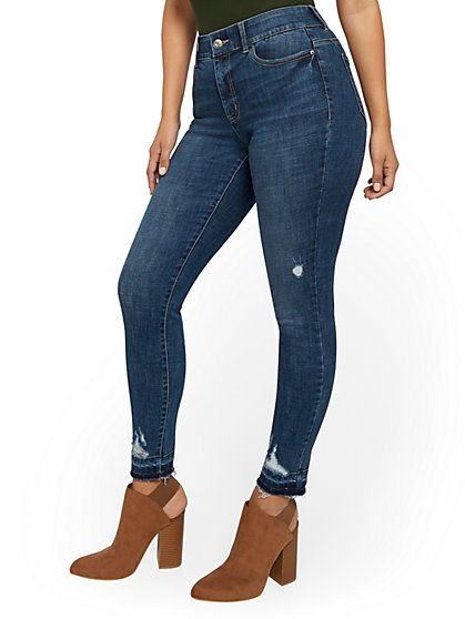 Mya High-Waisted Curvy Shaping No Gap Super-Skinny Jeans - Chameleon Blue - New York & Company