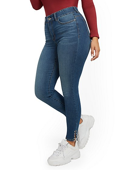 Mya High-Waisted Curvy Shaping No Gap Super-Skinny Jeans - Precious Blue - New York & Company
