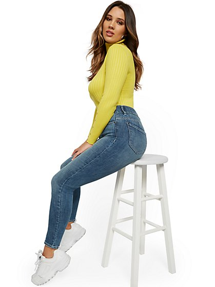 Mya High-Waisted Curvy Shaping No Gap Super-Skinny Jeans - Vibrant Blue - New York & Company