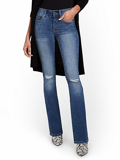 Mya High-Waisted Sculpting No Gap Barely Bootcut Jeans - New York & Company