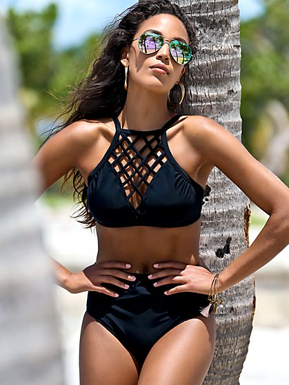 NY&C Swimwear - Black Lattice-Detail Bikini Top - New York & Company