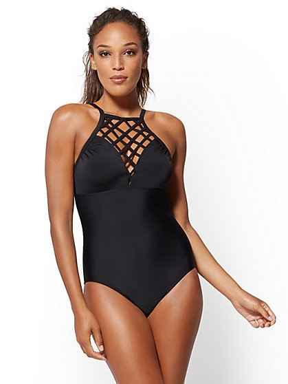 NY&C Swimwear - Black Lattice-Detail Swimsuit - New York & Company