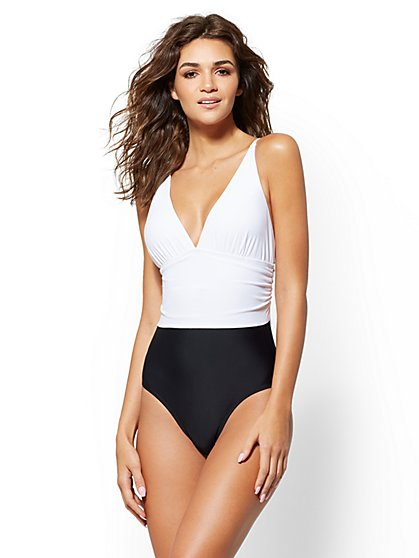 NY&C Swimwear - Colorblock One-Piece Swimsuit - New York & Company