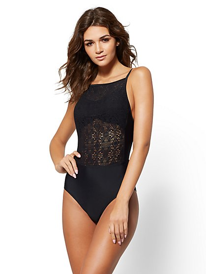 NY&C Swimwear - Crochet-Detail One-Piece Swimsuit - New York & Company