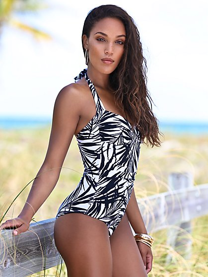 NY&C Swimwear - Palm-Print One-Piece Halter Swimsuit - New York & Company