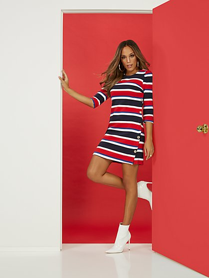 Nautical Stripe Shift Ponte Dress - Superflex - New York & Company