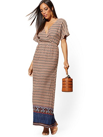 Navy Border-Print Maxi Dress - New York & Company