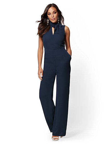 Navy Bow-Accent Wrap Jumpsuit - New York & Company