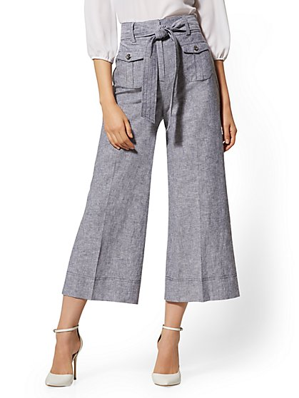 Navy Crop Wide Leg Pant - Signature Fit - City Stretch Linen Flex - 7th Avenue - New York & Company