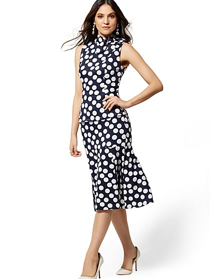 Navy Dot Fit and Flare Skirt - New York & Company