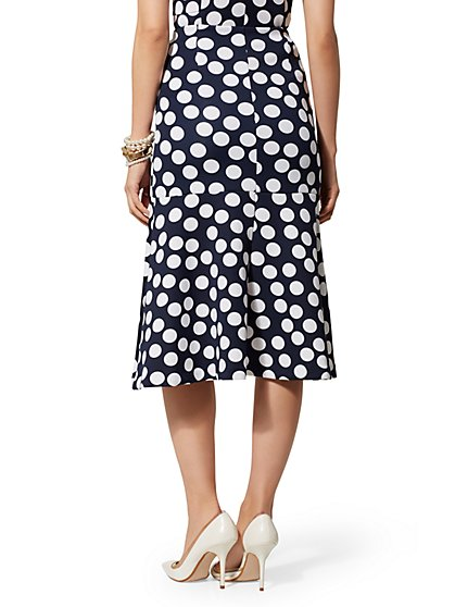 21b5572d3 ... Navy Dot Fit and Flare Skirt - New York & Company