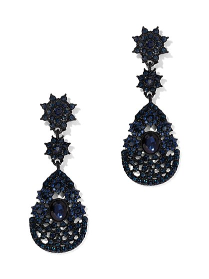 Navy Faux-Stone Drop Earring - New York & Company