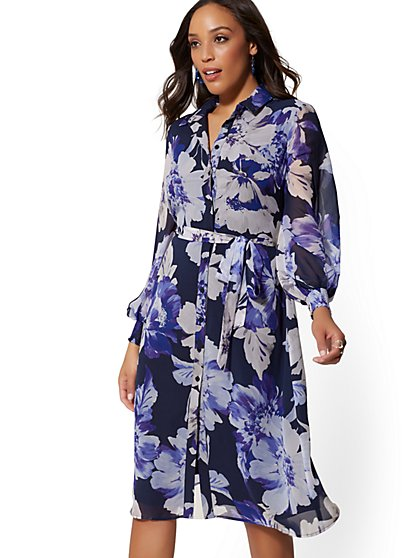 Navy Floral Chiffon-Sleeve Shirtdress - New York & Company