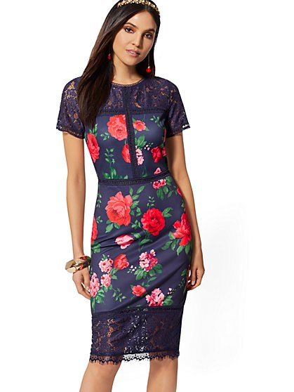 Navy Floral Lace-Accent Sheath Dress - New York & Company