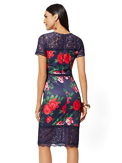 3423765a6c ... Navy Floral Lace-Accent Sheath Dress - New York   Company
