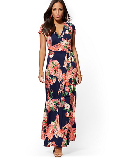 Navy Floral & Paisley Wrap Maxi Dress - New York & Company