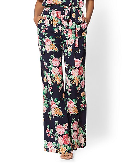 Navy Floral Pull-On Palazzo Pant - New York & Company