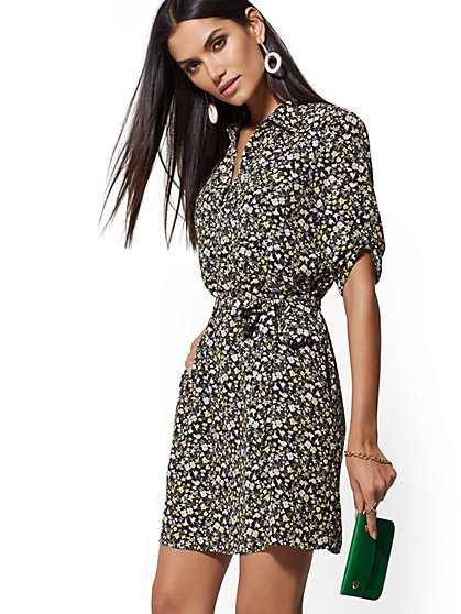Navy Floral Shirtdress - New York & Company