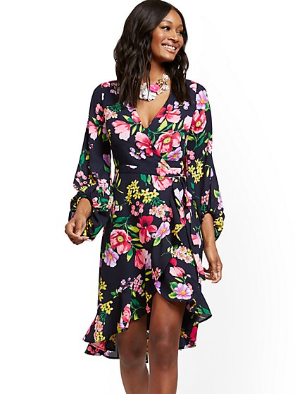 Navy Floral Wrap Dress - New York & Company