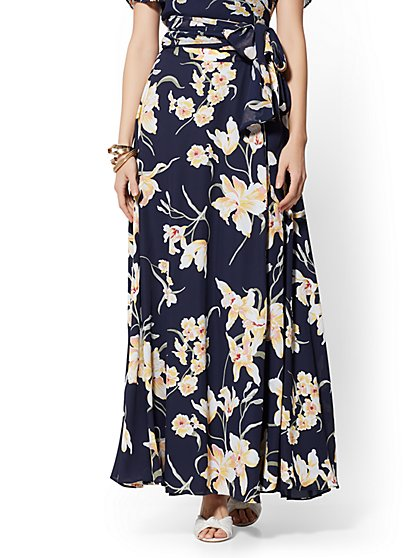 Navy Floral Wrap Maxi Skirt - New York & Company