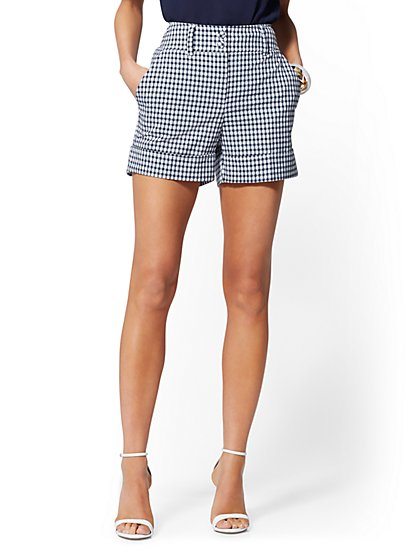 Navy Gingham Cuffed Short - 7th Avenue - New York & Company