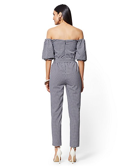 77bda05e9960e4 ... Navy Gingham Strapless Jumpsuit - New York   Company ...