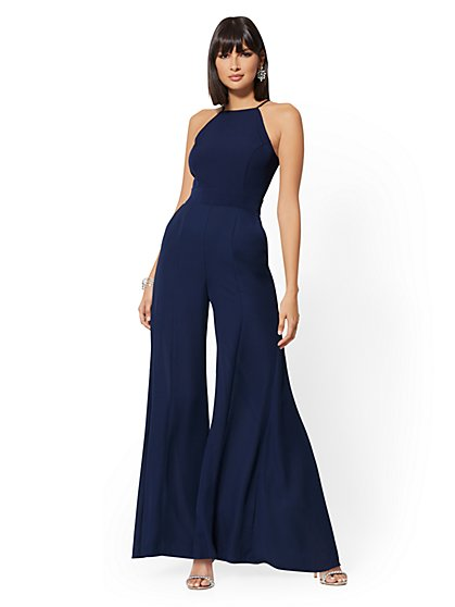 Navy Halter Jumpsuit - New York & Company