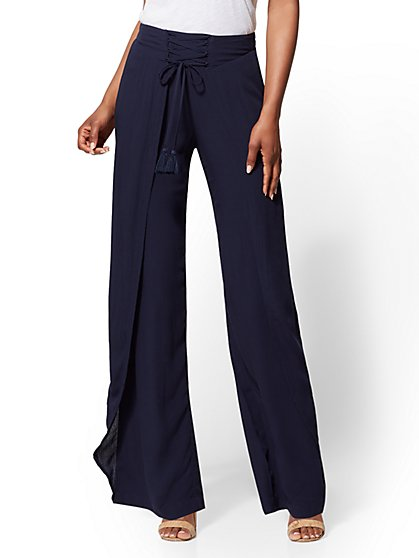 Navy Lace-Up Pant - New York & Company