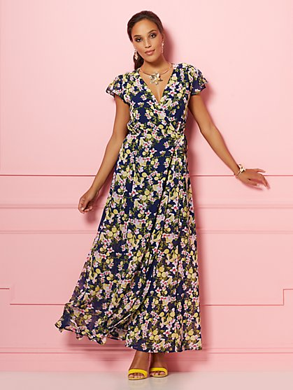 Navy Lemon Allison Maxi Dress - Eva Mendes Party Collection - New York & Company